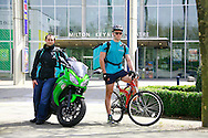 Deliveroo riders l-r, Tristan Harding, and, Brendan Tait.