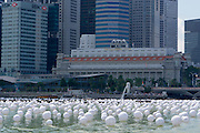 Singapore. Marina Bay, Balloons of Hope in front of Merlion..