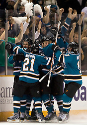 April 16, 2010; San Jose, CA, USA; San Jose Sharks celebrate after scoring the game-winning goal against the Colorado Avalanche during the overtime period of game two in the first round of the 2010 Stanley Cup Playoffs at HP Pavilion. The Sharks defeated the Avalanche 6-5 in overtime. Mandatory Credit: Jason O. Watson / US PRESSWIRE