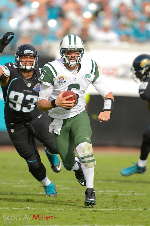New York Jets quarterback Mark Sanchez (6) an NFL game against the Jacksonville Jaguars at EverBank Field on Dec 9, 2012 in Jacksonville, Florida. The Jets won 17-10...©2012 Scott A. Miller..