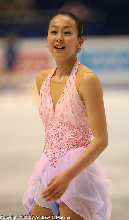 TOKYO - MARCH 23: Mao Asada of Japan skates off the ice after her performance  during the Ladies Short program during the World Figure Skating Championships at the Tokyo Gymnasium on March 23, 2007. (Photo By Andrew T. Malana)