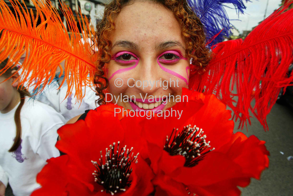 17/3/2005.Celma Gomes pictured taking part in the St Patricks Day Parade in Carlow yesterday..Picture Dylan Vaughan
