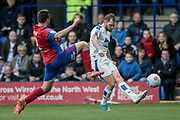 James Norwood (Tranmere Rovers) shoots, but the shot is saved during the Vanarama National League second leg play off match between Tranmere Rovers and Aldershot Town at Prenton Park, Birkenhead, England on 6 May 2017. Photo by Mark P Doherty.