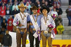 1 Masi De Vargas Giovanni, (ITA), 2 , Ludwig Grischa, (GER), 3 Ernst Elias, (GER)<br /> Reining individual<br /> European Championships - Aachen 2015<br /> &copy; Hippo Foto - Dirk Caremans<br /> 16/08/15