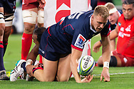 MELBOURNE, AUSTRALIA - APRIL 06: Reece Hodge of the Rebels scores a try at round 8 of The Super Rugby match between Melbourne Rebels and Sunwolves on April 06, 2019 at AAMI Park in VIC, Australia. (Photo by Speed Media/Icon Sportswire)