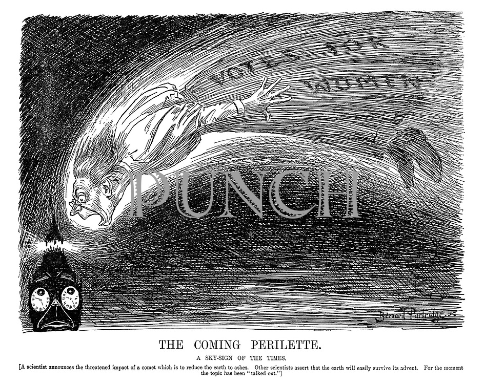 "The Coming Perilette. A sky-sign of the times. [A scientist announces the threatened impact of a comet which is to reduce the earth to ashes. Other scientists assert that the earth will easily survive its advent. For the moment the topic has been ""talked out.""]"