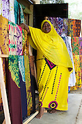 Salma Likupila in her shop near Picha ya Ndege in Tanzania.<br /> <br /> Salma set up and now runs a Batik business, making and selling Batik as well as towels and bed linen.<br /> <br /> She attended MKUBWA enterprise training run by the Tanzania Gatsby Trust in partnership with The Cherie Blair Foundation for Women.