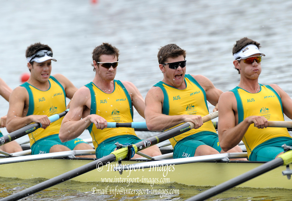 Poznan, POLAND,  AUS M8+, competing in the men's eight repechage, on the fourth day of the, 2009 FISA World Rowing Championships. held on the Malta Rowing lake,Wednesday  26/08/2009  [Mandatory Credit. Peter Spurrier/Intersport Images]