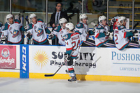 KELOWNA, CANADA - JANUARY 23: Tyson Baillie #24 of Kelowna Rockets celebrates a goal against the Everett Silvertips on January 23, 2015 at Prospera Place in Kelowna, British Columbia, Canada.  (Photo by Marissa Baecker/Shoot the Breeze)  *** Local Caption *** Tyson Baillie;