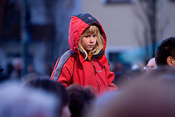 Kid at reception of Slovenian athlete Petra Majdic at her home town when she arrived home with small cristal globus at the end of the nordic season 2008/2009, on March 24, 2009, in Dol pri Ljubljani, Slovenia. (Photo by Vid Ponikvar / Sportida)