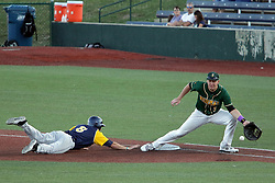 08 July 2017: Jeff DeBlieux Aaron Dudley during a Frontier League Baseball game between the Traverse City Beach Bums and the Normal CornBelters at Corn Crib Stadium on the campus of Heartland Community College in Normal Illinois