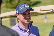 Justin Thomas stops for a word with particpants as hosts the Strategic Communications/Justin Thomas Junior Championship presented by Phocus at Harmony Landing Country Club Friday, April 20, 2018, in Goshen, Ky. (Photo by Brian Bohannon)