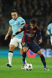 Manchester City's Samir Nasri jostles for the ball with Barcelona's Neymar - Photo mandatory by-line: Dougie Allward/JMP - Mobile: 07966 386802 - 18/03/2015 - SPORT - Football - Barcelona - Nou Camp - Barcelona v Manchester City - UEFA Champions League - Round 16 - Second Leg