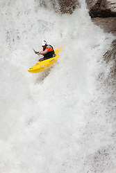 """Kayaker on Silver Creek 20"" - This kayaker was photographed on Silver Creek - South Fork, near Icehouse Reservoir, CA."