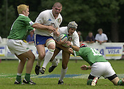 © Peter Spurrier / Intersport images.email images@intersport-images.com.29/6/03 Photo Peter Spurrier.IRB U21 Rugby World Cup - Henley - Oxon.Ireland v Italy.Italy attack though Santillo Valero [left cap] and Michele Rizzo.