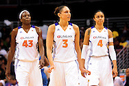 Sep 11, 2011; Phoenix, AZ, USA; Phoenix Mercury forward Nakia Sanford (43) , guard Diana Taurasi (3) and forward Candice Dupree (4) reacts on the court while playing against the Minnesota Lynx at the US Airways Center.  The Lynx defeated the Mercury 96-90. Mandatory Credit: Jennifer Stewart-US PRESSWIRE