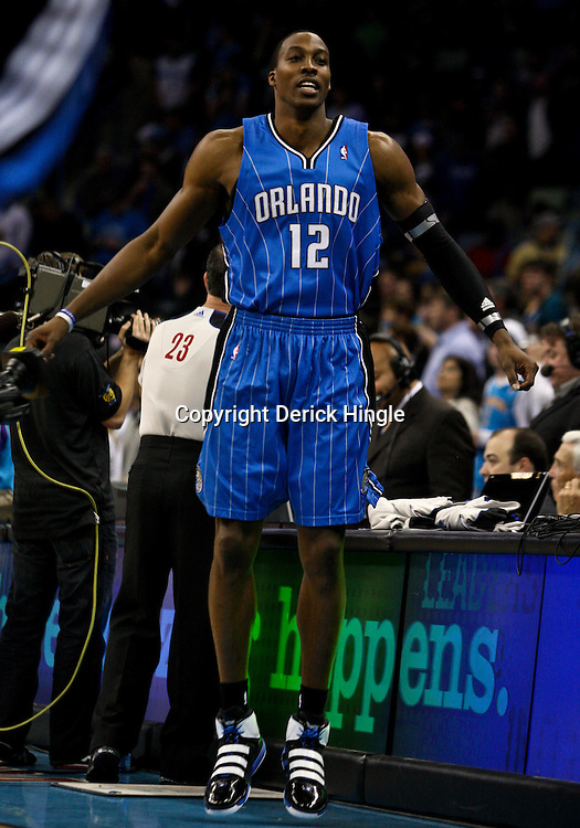 Feb 26, 2010; New Orleans, LA, USA; Orlando Magic center Dwight Howard (12) during warm ups prior to a game against the New Orleans Hornets at the New Orleans Arena. Mandatory Credit: Derick E. Hingle-US PRESSWIRE
