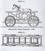Brandreth's horse locomotive 'Cyclopede'. From 'Engineer's and Mechanic's Encyclopaedia' by Luke Herbert (London, 1836).  Wood engraving.