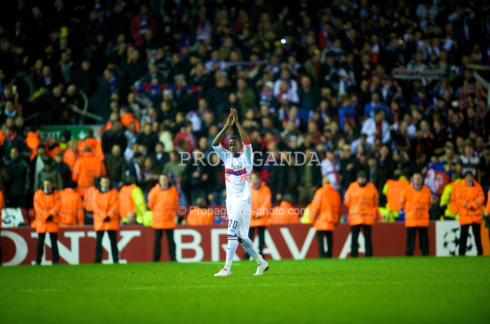 LIVERPOOL, ENGLAND - Tuesday, October 20, 2009: Olympique Lyonnais's Aly Cissokho during the UEFA Champions League Group E match at Anfield. (Pic by David Rawcliffe/Propaganda)