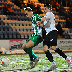 TELFORD COPYRIGHT MIKE SHERIDAN Aaron Williams of Telford  closes down Scott Wilson during the Vanarama Conference North fixture between AFC Telford United and Blyth Spartans at The New Bucks Head on Tuesday, January 28, 2020.<br /> <br /> Picture credit: Mike Sheridan/Ultrapress<br /> <br /> MS201920-043