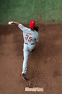 Cole Hamels #35 of the Philadelphia Phillies prepares before a game against the Minnesota Twins on June 11, 2013 at Target Field in Minneapolis, Minnesota.  The Twins defeated the Phillies 3 to 2.  Photo: Ben Krause