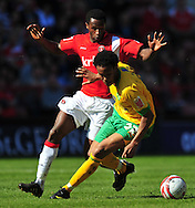 London - Saturday, April 17th 2010: Jose Sodje of Charlton Athletic and Oli Johnson of Norwich City during the Coca Cola League One match at The Valley, Charlton...(Pic by Alex Broadway/Focus Images)