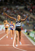 Sifan Hassan (NED) celebrates after winning the women's 5,000m in 14:26.26 during the IAAF Diamond League final at the 44th Memorial Van Damme at King Baudouin Stadium, Friday, Sept. 6, 2019, in Brussels, Belgium. (Jiro Mochizuki/Image of Sport)