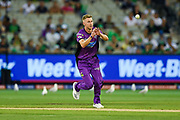 14th January 2019, Melbourne Cricket Ground, Melbourne, Australia; Australian Big Bash Cricket, Melbourne Stars versus Hobart Hurricanes; Riley Meredith of the Hobart Hurricanes fields the ball