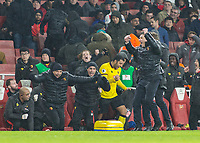 Football - 2016 / 2017 Premier League - Arsenal vs. Watford <br /> <br /> The Watford bench celebrate a hard won win at The Emirates.<br /> <br /> COLORSPORT/DANIEL BEARHAM