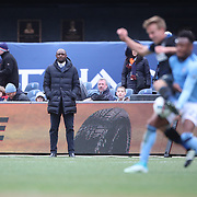 NEW YORK, NEW YORK - April 12: New York City FC head Coach Patrick Vieira on the sideline during the New York City FC Vs San Jose Earthquakes regular season MLS game at Yankee Stadium on April 1, 2017 in New York City. (Photo by Tim Clayton/Corbis via Getty Images)