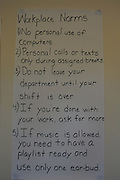 Things for interns to remember are posted on the walls of the classroom.