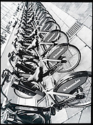 Rental bikes, London, England. Black and white.