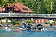 "Lucerne, SWITZERLAND, 12th July 2018, Friday  View,  Seeclub ""Luzern"", ""Seeclub Luzern"" ""Lake Lucerne',  Crew row back to the Boathouse, Photographer, Karon PHILLIPS,"