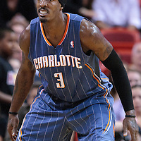 19 November 2010: Charlotte Bobcats' small forward #3 Gerald Wallace is seen on defense during the Miami Heat 95-87 victory over the Charlotte Bobcats at the AmericanAirlines Arena, Miami, Florida, USA.