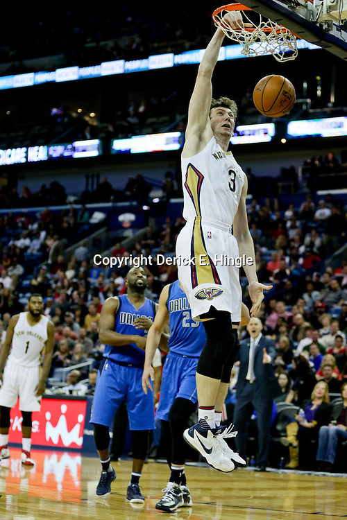 Jan 6, 2016; New Orleans, LA, USA; New Orleans Pelicans center Omer Asik (3) dunks against the Dallas Mavericks during the second half of a game at the Smoothie King Center. The Mavericks defeated the Pelicans 100-91. Mandatory Credit: Derick E. Hingle-USA TODAY Sports