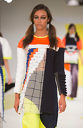 © Licensed to London News Pictures. 01/06/2015. London, UK. Collection by Catriona Pringle. Fashion show of De Montfort University (Leicester) at Graduate Fashion Week 2015. Graduate Fashion Week takes place from 30 May to 2 June 2015 at the Old Truman Brewery, Brick Lane. Photo credit : Bettina Strenske/LNP