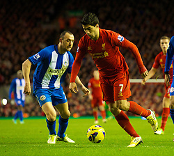 17.11.2012, Anfield, Liverpool, ENG, Premier League, FC Liverpool vs Wigan Athletic, 12. Runde, im Bild Liverpool's Luis Alberto Suarez Diaz in action against Wigan Athletic during the English Premier League 12th round match between Liverpool FC and West Wigan Athletic at Anfield, Liverpool, Great Britain on 2012/11/17. EXPA Pictures © 2012, PhotoCredit: EXPA/ Propagandaphoto/ David Rawcliffe..***** ATTENTION - OUT OF ENG, GBR, UK *****