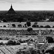 The plains around Bagan temples The stupas of Bagan standing above the plains.