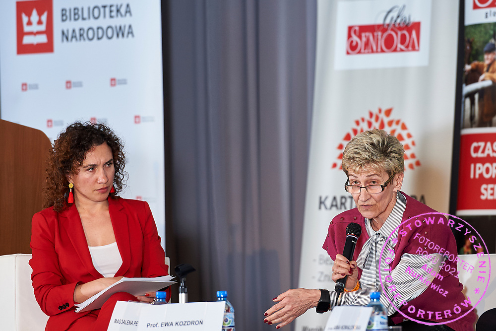 Warsaw, Poland - 2017 April 07: (L) Magdalena Petryniak - President of Story Seekers Polska and (R) Ewa Kozdron - President of the European Association for the Promotion of Mobility 50+ attend in The Day of Health - science conference in the National Library on April 07, 2017 in Warsaw, Poland.<br /> <br /> Mandatory credit:<br /> Photo by © © Adam Nurkiewicz / Mediasport / Mediasport<br /> <br /> Picture also available in RAW (NEF) or TIFF format on special request.<br /> <br /> Any editorial, commercial or promotional use requires written permission from the author of image.<br /> <br /> Adam Nurkiewicz declares that he has no rights to the image of people at the photographs of his authorship.