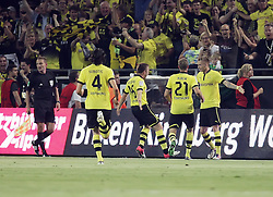 24.08.2012, Signal Iduna Park, Dortmund, GER, 1. FBL, Borussia Dortmund vs SV Werder Bremen, 1. Runde, im Bild v.l. Jubel nach dem Tor zum 1:0 bei Neven Subotic (Borussia Dortmund), Jakub Blaszczykowski (Borussia Dortmund), Oliver Kirch (Borussia Dortmund) und Marco Reus (Borussia Dortmund). Freisteller // during the German Bundesliga 1th round match between Borussia Dortmund and SV Werder Bremen at the Signal Iduna Park, Dortmund, Germany on 2012/08/24. EXPA Pictures © 2012, PhotoCredit: EXPA/ Eibner/ Oliver Vogler..***** ATTENTION - OUT OF GER *****