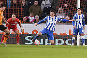 Brighton central defender, Lewis Dunk (5) clears ball from goal area  during the The FA Cup match between Hull City and Brighton and Hove Albion at the KC Stadium, Kingston upon Hull, England on 9 January 2016. Photo by Ian Lyall.