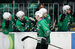 Ales Music of Olimpija celebrates during Ice Hockey match between HK SZ Olimpija and EHC Alge Elastic Lustenau in Semifinal of Alps Hockey League 2018/19, on April 5, 2019, in Arena Tivoli, Ljubljana, Slovenia. Olimpija win the game and qualify to Final of AHL. Photo by Matic Klansek Velej / Sportida