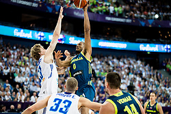 Erik Murphy of Finland vs Anthony Randolph of Slovenia during basketball match between National Teams of Finland and Slovenia at Day 3 of the FIBA EuroBasket 2017 at Hartwall Arena in Helsinki, Finland on September 2, 2017. Photo by Vid Ponikvar / Sportida