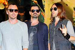 30 Seconds to Mars.<br /> Rock band members (R-L) Jared Leto, Tomo Milicevic & Shannon Leto during the meet and greet with fans as they sign copies of their new album, Love, Lust, Faith and Dreams, HMV Oxford Circus<br /> London, United Kingdom<br /> Tuesday, 18th June 2013<br /> Picture by Chris  Joseph / i-Images