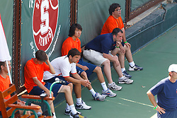 May 24, 2011; Stanford, CA, USA;  The Virginia Cavaliers mens tennis team watches while the Southern California Trojans celebrate after the finals of the men's team 2011 NCAA Tennis Championships at the Taube Tennis Center. USC defeated UVA 4-3. Photo: Jason O. Watson / Special to the Daily Progress
