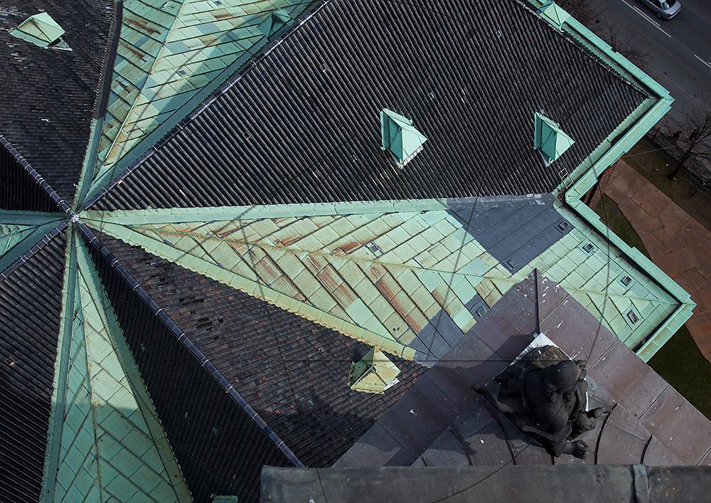 Vor Frelser Kirke, København, udskiftning af kobbertag, tegltag, kobbertag, skotrender, tagkam, samlinger, kobberkviste