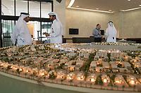 08 APR 2013, DOHA/QATAR<br /> Ausschnitt eines Modells des Projekts Lusail City, hier Qetaifan Islands, - ein Urbanisierungs-Projekt entlang der Ostkueste unmittelbar noerdlich der Stadt Doha, der Hauptstadt von Katar - in den Raeumen der Qatari Diar Real Estate Investment Company<br /> IMAGE: 20130408-01-013<br /> KEYWORDS: Katar, Retortenstadt, Planstadt