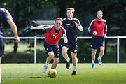 Dundee&rsquo;s Scott Allan sprints away from Craig Wighton -  Dundee FC - Pre-season training at University Grounds, Riverside, Dundee, Photo: David Young<br /> <br />  - &copy; David Young - www.davidyoungphoto.co.uk - email: davidyoungphoto@gmail.com