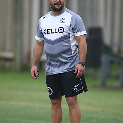DURBAN, SOUTH AFRICA - FEBRUARY 16: Omar Mouneimne (Defence coach) of the Cell C Sharks during the Cell C Sharks training session at Growthpoint Kings Park on February 16, 2016 in Durban, South Africa. (Photo by Steve Haag/Gallo Images)