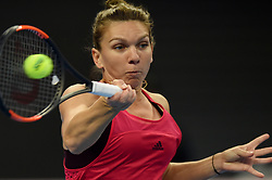 BEIJING, Oct. 4, 2017  Simona Halep of Romania returns the ball during the women's singles third round match against Maria Sharapova of Russia at 2017 China Open tennis tournament in Beijing, capital of China, Oct. 4, 2017. Simona Halep won 2-0. (Credit Image: © Ju Huanzong/Xinhua via ZUMA Wire)